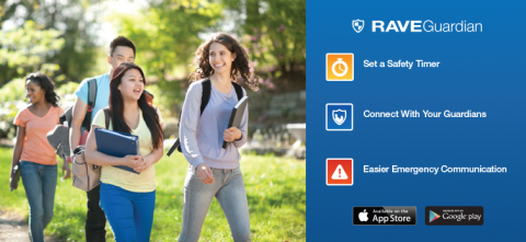 Students walking on campus, with a description of Rave Guardian services which include setting a safety timer, connecting with your guardians, and easier emergency communication.